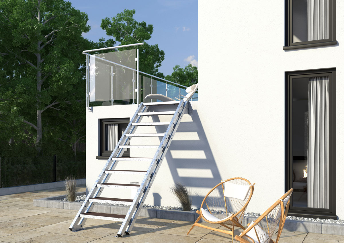 aussentreppe new york 11 stufen wpc treppen werk. Black Bedroom Furniture Sets. Home Design Ideas