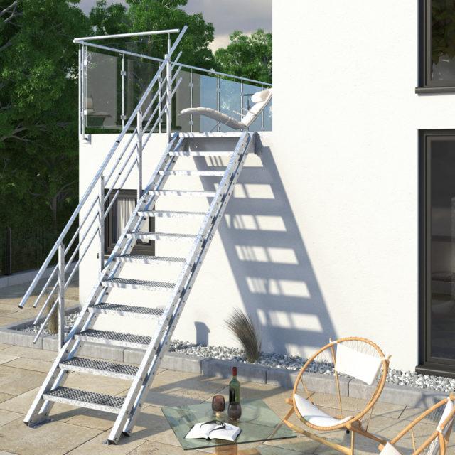 12 Gitter mit einem Geländer