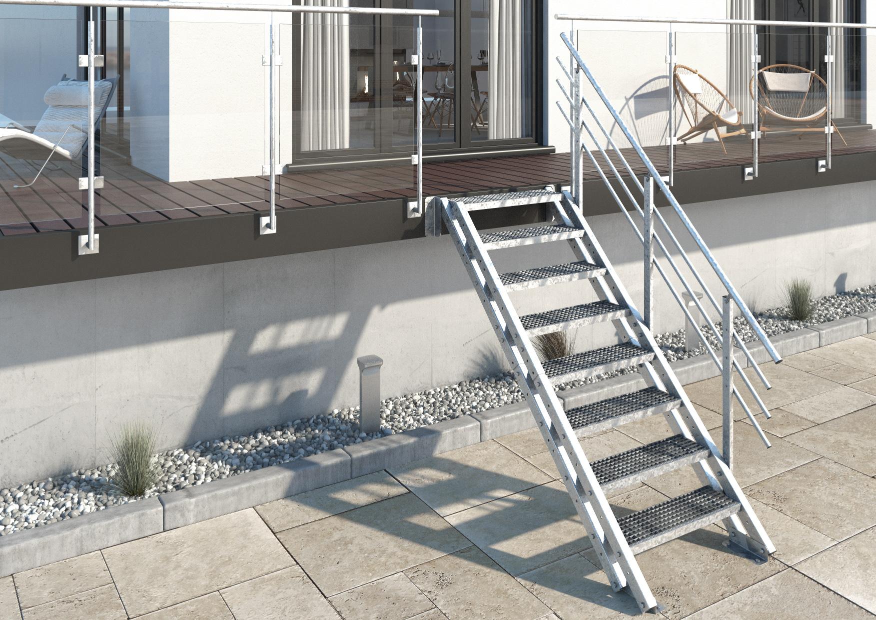 Aussentreppe New York 8 Stufen Gitterrost Treppen Werk