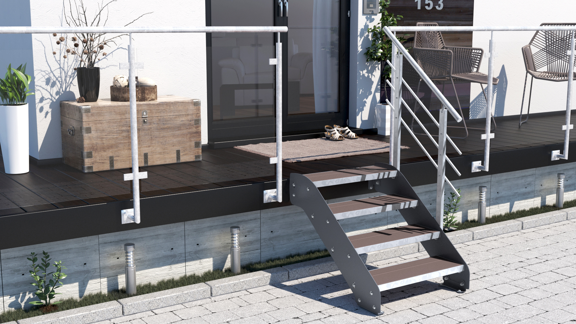 exklusive treppe altona ii aussentreppe mit 4 stufen wpc treppen werk. Black Bedroom Furniture Sets. Home Design Ideas