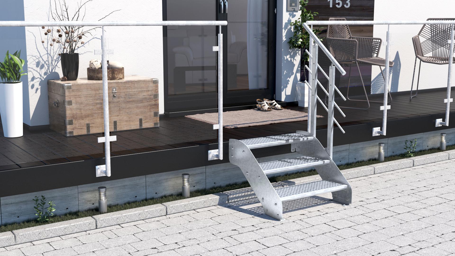 Breitenverstellbare Aussentreppe Mit Gitterrost Einlage Treppen Werk