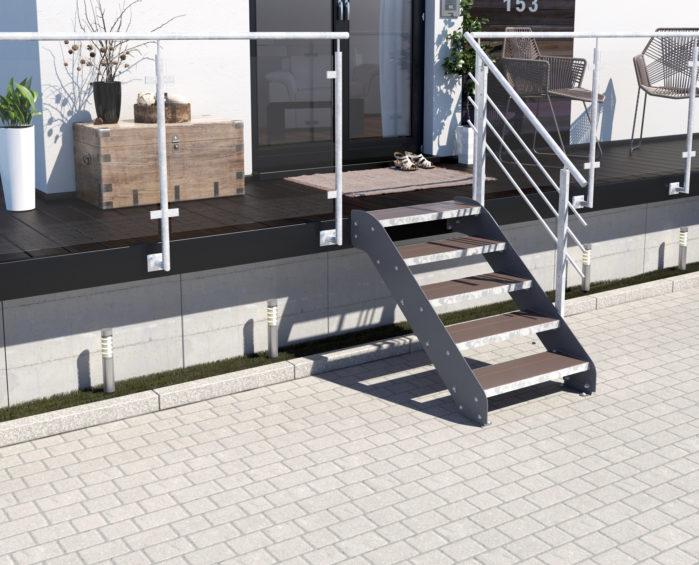 Altona II_5 Stufen_WPC_braun_1 Geländer