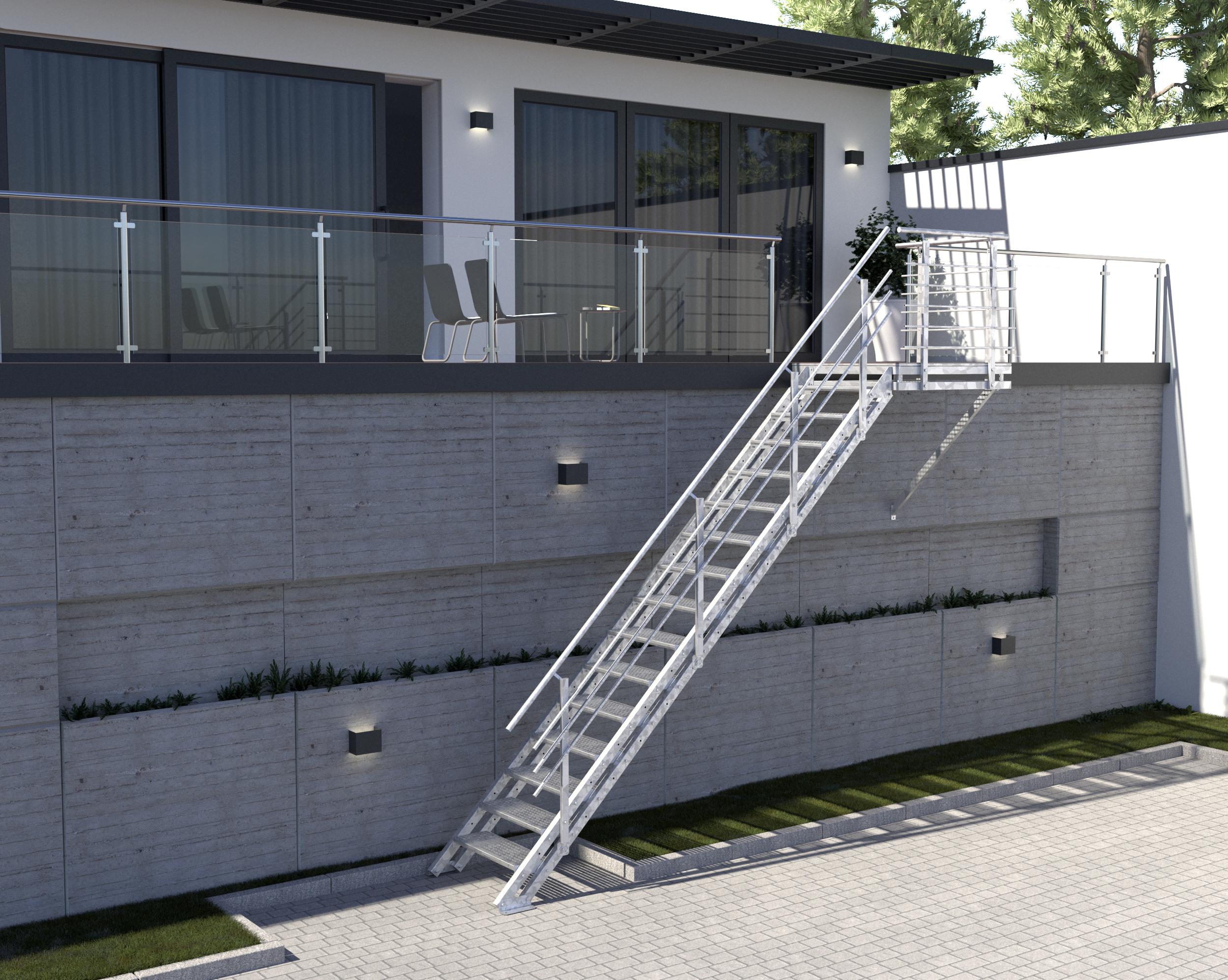 Relativ Aussentreppe Berlin - 14 Stufen, Gitterrost, Podest - Treppen-Werk ES58