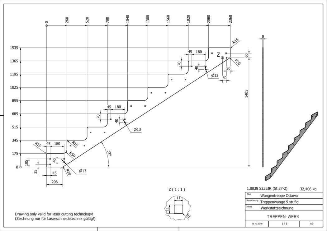 Seitenwange-Aussentreppe-Ottawa-9-Stufen-technische-Zeichnung