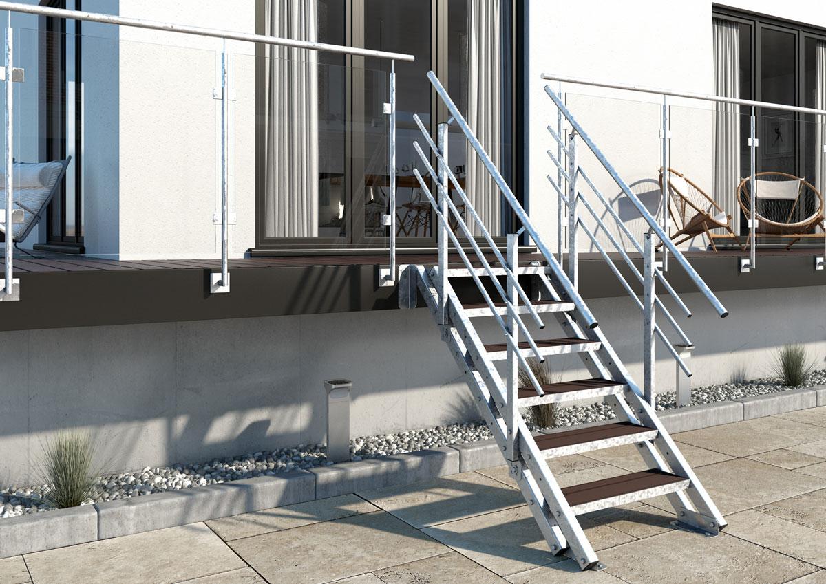 metalltreppe treppe balkontreppe aussentreppe 6 stufen. Black Bedroom Furniture Sets. Home Design Ideas