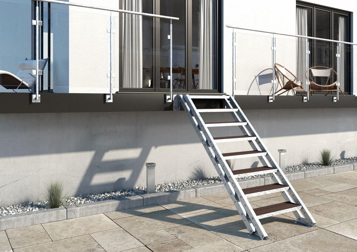 metalltreppe balkontreppe treppe aussentreppe new york 7 stufen wpc braun ebay. Black Bedroom Furniture Sets. Home Design Ideas